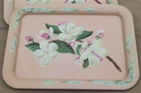 vintage metal trays w pink apple blossoms floral shabby chic cottage style