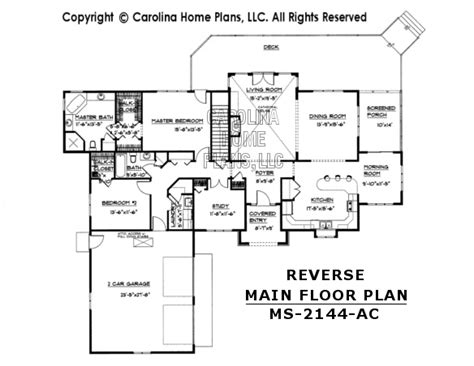 reverse floor plan midsize contemporary ranch style home plan ms 2144 ac sq