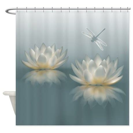 dragonfly bathroom lotus and dragonfly shower curtain by showercurtainshop