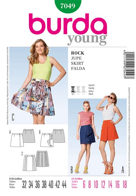 skirt pattern burda burda 7049 misses skirt sewing pattern