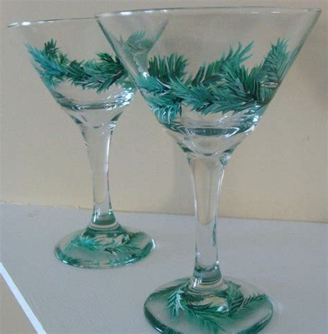 martini glass painting pine wreath martini glasses hand painted