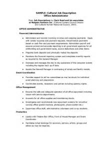 Department Manager Description by Office Administrator Description Recentresumes