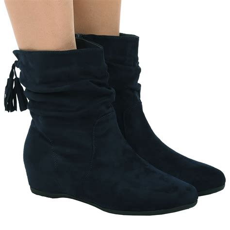 womens shoes flat slouch low heel wedge ankle boots