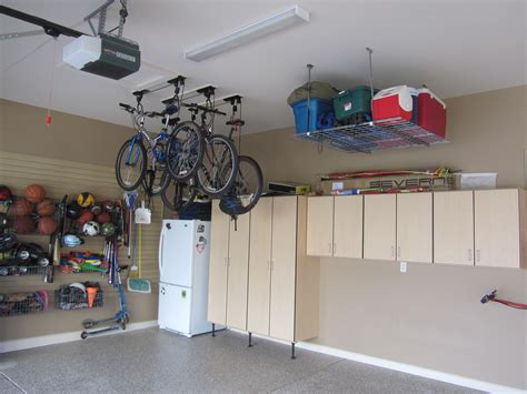 garage ceiling storage overhead bicycle and cooler