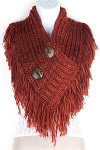 Infinity Fringe Scarf Knitted Button Infinity Fringe Scarf Scarves