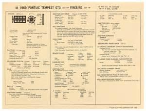 Pontiac 400 Horsepower Rating 1969 Gto Factory Tune Up Cards Pontiac V8 400 W 4 Bbl 350