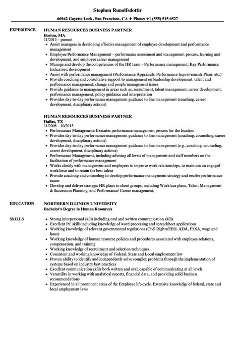 Human Resources Business Partner Resume Sles Velvet Jobs Human Resources Business Partner Resume Templates