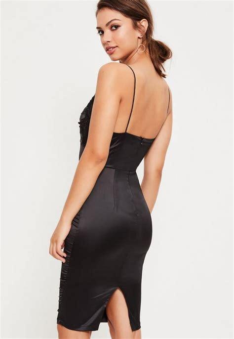 Dress Midi Satin black satin embroidered midi dress missguided