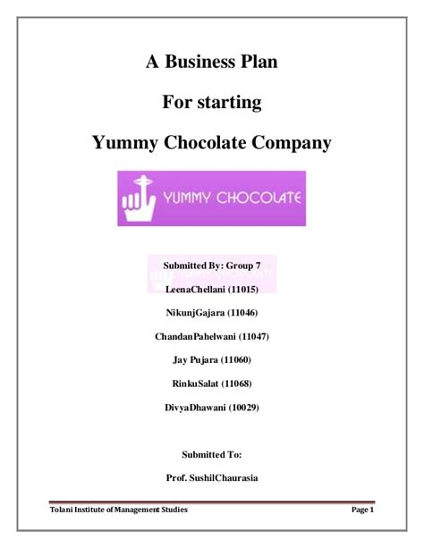 business plan template manufacturing business plan for starting a chocolate company