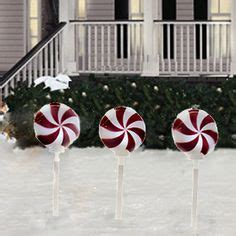 twinkling candy cane outdoor lights peppermint solar stake lights set of 3 decorations holidays