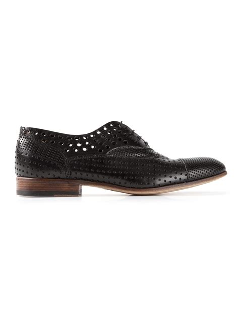 perforated oxford shoes raparo perforated oxford shoes in black for lyst