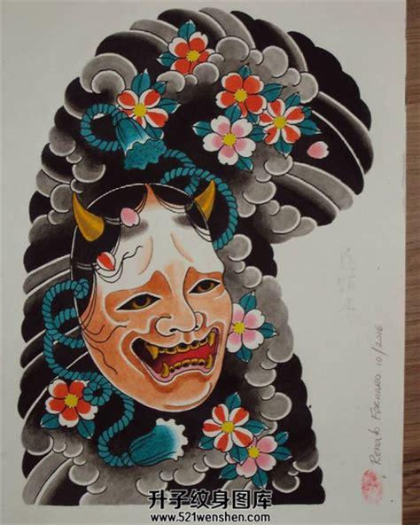 日式传统纹身手稿半甲般若素材纹身手稿 升子纹身520
