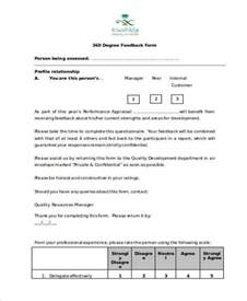 360 feedback template sle 360 degree feedback forms 7 free documents in