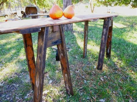 Trestle Fence Tri Leg Trestle Table Made From Recycled Door And Hardwood