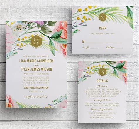 floral wedding invitation garden floral botanical garden printed floral wedding