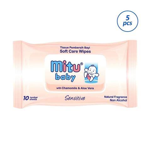 Wipes Mitu jual mitu baby sensitive wipes 10 sheets 5 pcs