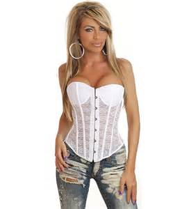 Strapless Corset Top Strapless White Lace Corset N2300