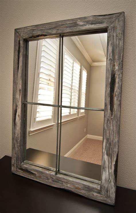 faux window mirror rustic distressed faux window large graywash