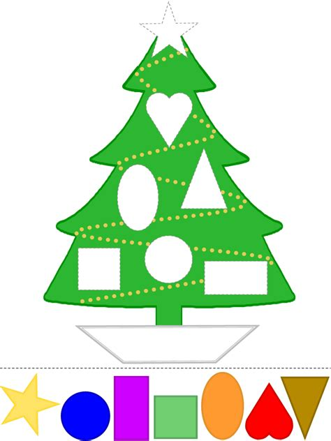 printable christmas tree activities christmas tree craft learn shapes color template