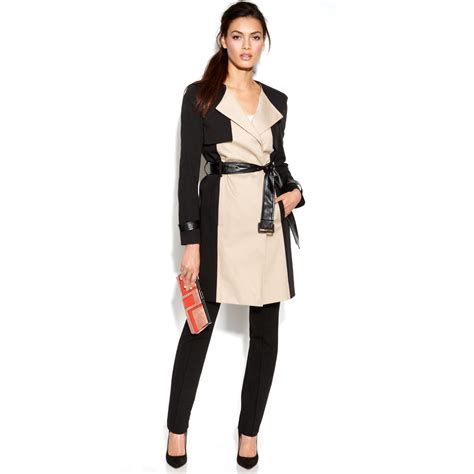 color block trench coat dkny colorblock mixedmedia trench coat in beige black
