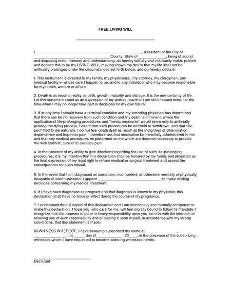 living will and testament template best photos of will template form form will
