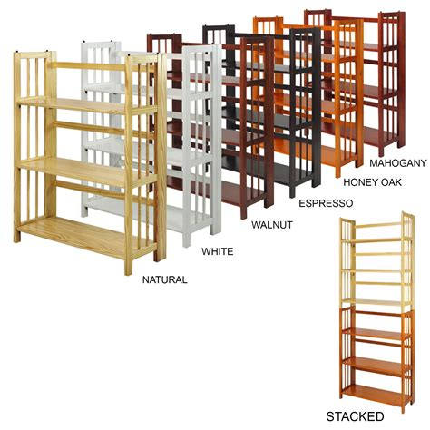 stackable bookcases solid wood amazon com casual home 3 shelf folding stackable bookcase