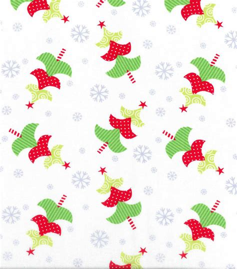 christmas cotton fabric whimsical trees on white tossed
