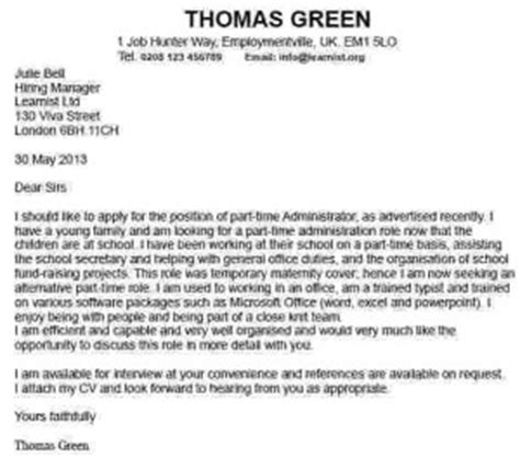 application letter cover letter for part time jobs