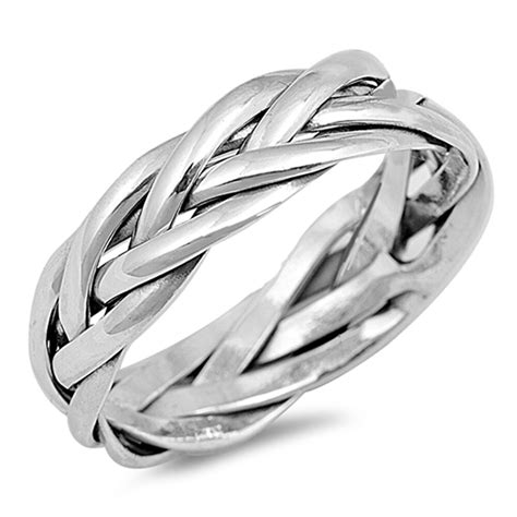 braided knot weave mens wedding ring   sterling