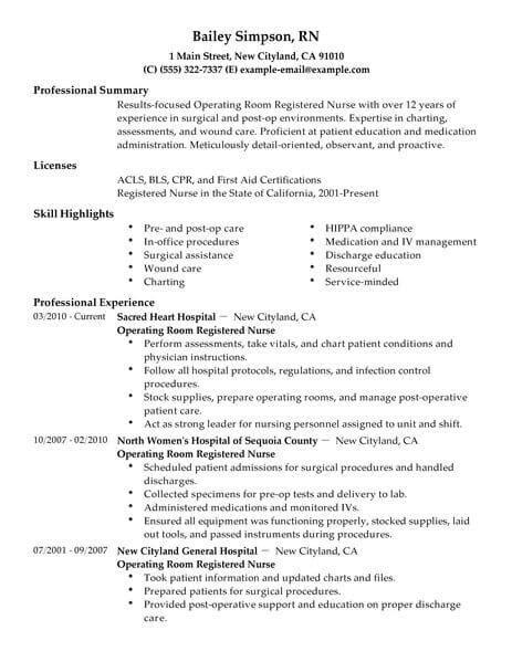 sample operating room nurse resume perioperative nurse resume