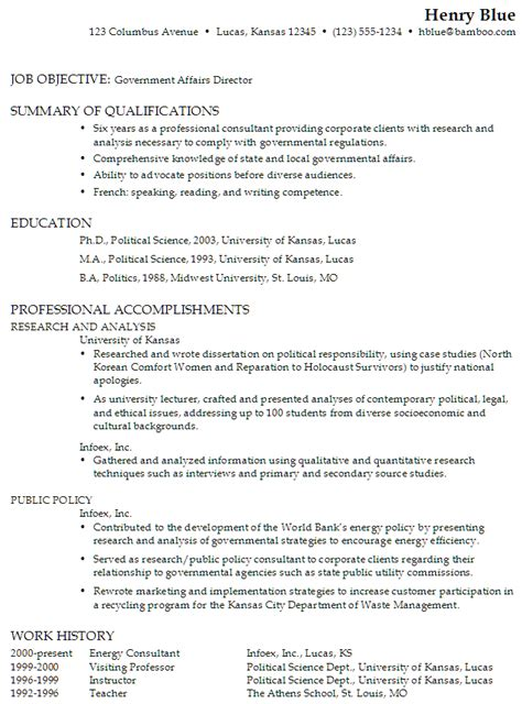 Examples Of Federal Government Resumes by Functional Resume Sample Government Affairs Director