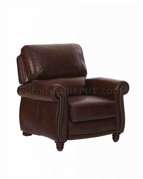 Leather Push Back Recliners by Leather Italia Classic Tobacco Push Back Recliner