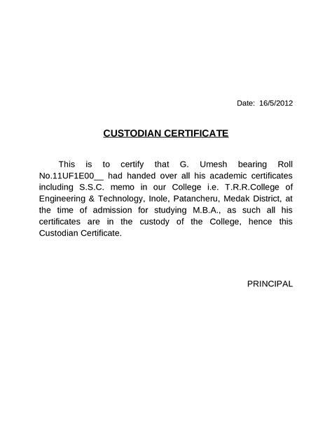 Custodian Certificate Letter custodian certificate docslide br