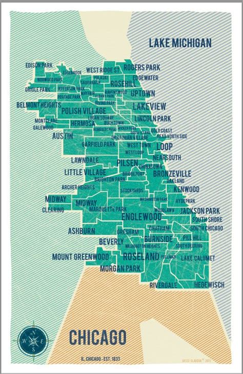 chicago map with neighborhoods city of chicago map in turquoise vintage style poster