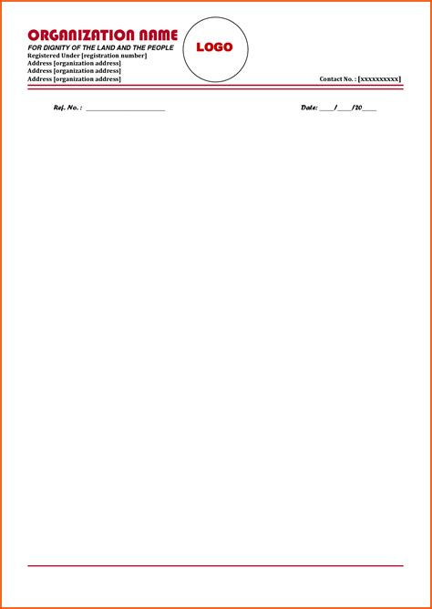 letter head format formal letter template
