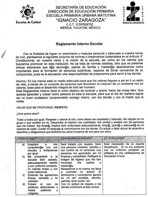 reglamento interno de escuelas preparatorias oficiales 2 reglamento interno escuela primaria ignacio zaragoza