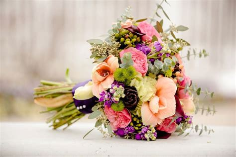 Tulip Artificial By Elie Gallery bright fall wedding bouquet in pink purple and green