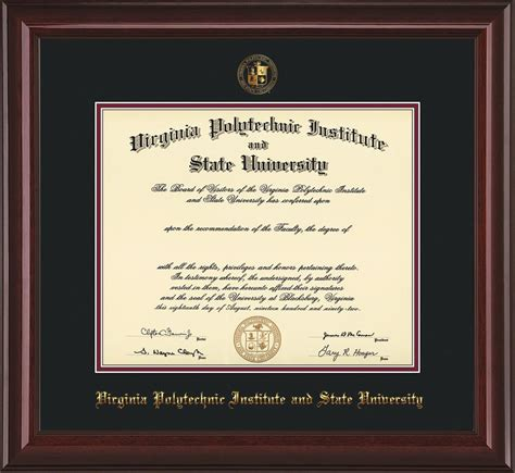 Virginia Tech Mba Arlington by Virginia Tech Diploma Frame Mahog Lacquer W Vt Seal Black
