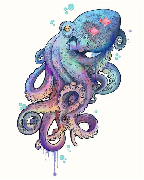 watercolor octopus tattoo wonderful watercolor octopus design by