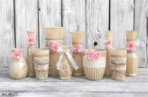 Shabby Chic Vases Wedding by Burlap And Lace Vases Rustic Beige And Pink Wedding