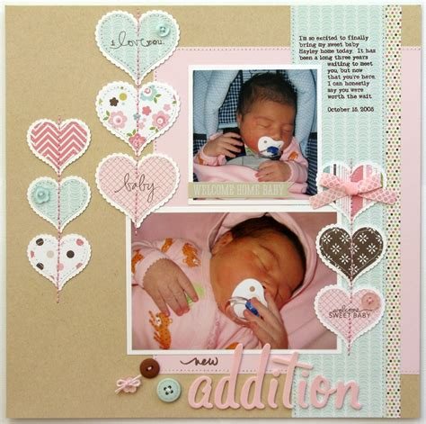 scrapbook layout baby girl snippets by mendi an echo park bundle of joy baby girl layout