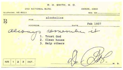 Trust God Clean House Help Others by Dr Bob S Rx For Sobriety Certain Steps