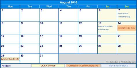 printable uk calendar 2016 with holidays august 2016 uk calendar with holidays for printing image