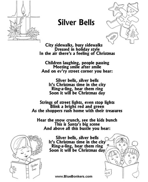 5 classic christmas songs the lyrics printable carol lyrics sheet silver bells