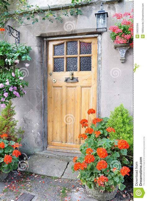 cottage front door stock photo image  color buildings