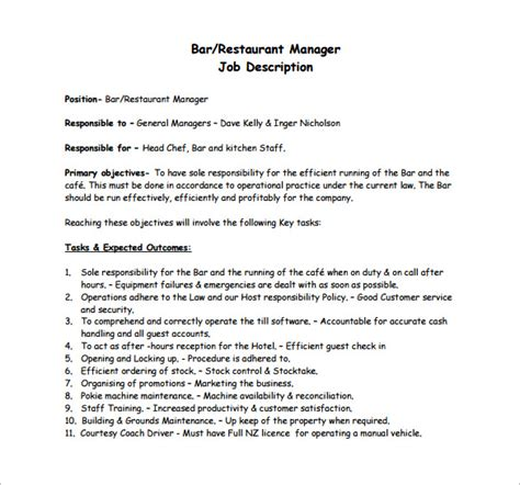 restaurant manager templates restaurant manager description templates 10 free sle exle format free