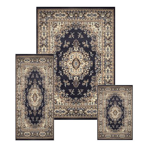 Area Rug And Runner Sets traditional medallion navy 3 pcs area rug