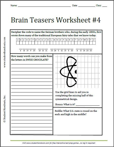 k 12 math worksheets brain teasers worksheet 4 free to print grades 3 and