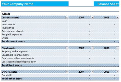 assets and liabilities report balance sheet template
