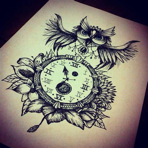 clock tattoo designs tumblr owl clock flowers design opposites attract